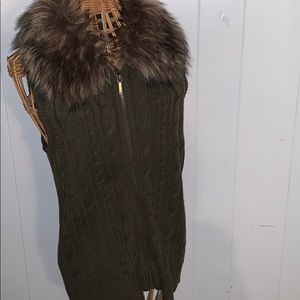 Chaps Denim Knit Vest Army Green  with Fur Large